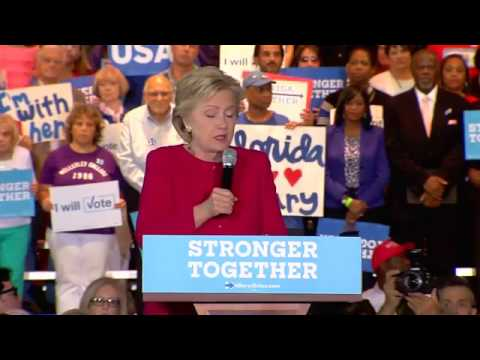 Clinton speaking at Rally in Florida THIS VIDEO IS GREEN SCREENED!