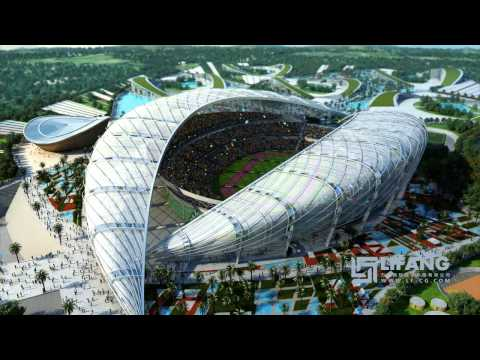 Brazzaville stadium CGI architectural animation