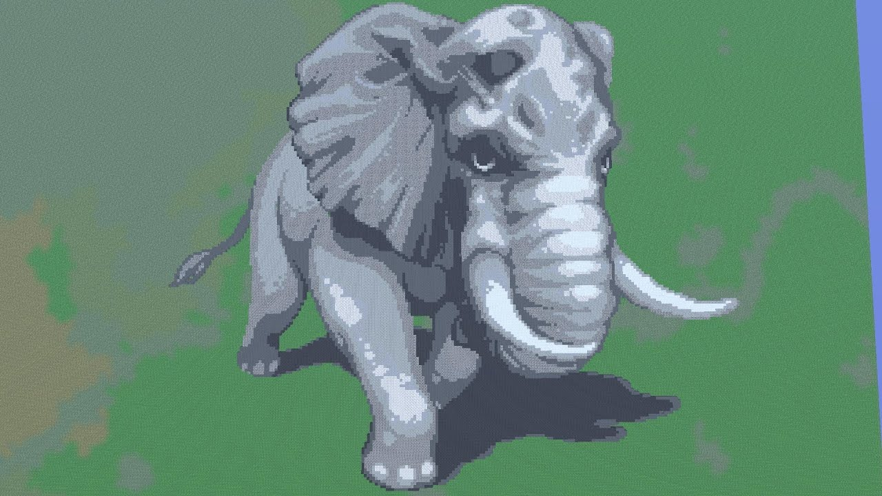 Raging Elephant Minecraft Pixel Art