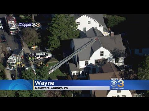 Crews Battle House Fire In Wayne