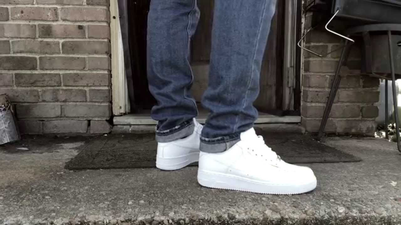 Air Force 1 Low White On Feet Youtube