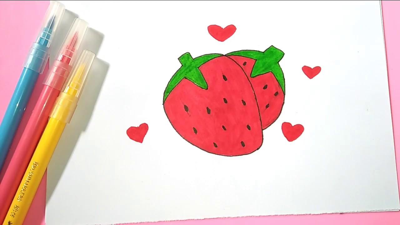 Mari Belajar Menggambar dan Mewarnai Buah Stroberi - YouTube
