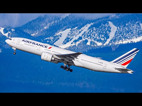 (4K UHD) Stunning Mountain Backdrop Departures | Plane Spotting At Vancouver YVR