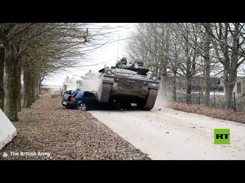 فيديو.. مدرعات تهرس سيارات أثناء تدريبات بريطانية  - نشر قبل 40 دقيقة