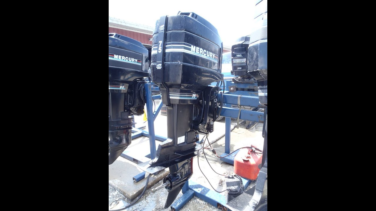 6m1766 used 1992 mercury marine 75elpto 75hp 2 stroke Two stroke outboard motors