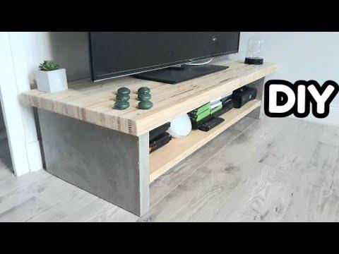 fabrication d un meuble tv bois beton diy creation 015