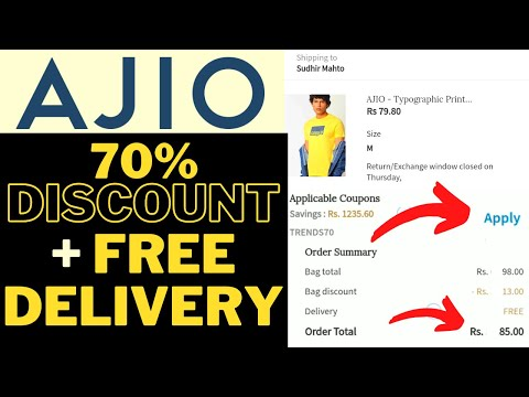 AJIO 70% OFF Discount Coupon + FREE Delivery | Loot Deals AJIO | How to apply Coupon on AJIO 2021