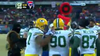 B.J Raji TD vs Bears and funny celebration-NFC Championship