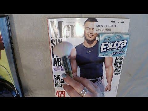 ASMR Magazine Flip Through With Gum, Whisper & Brush.  Men's Health.