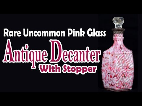 Rare Uncommon Pink Glass Genuine Antique Decanter With Stopper. i31-46