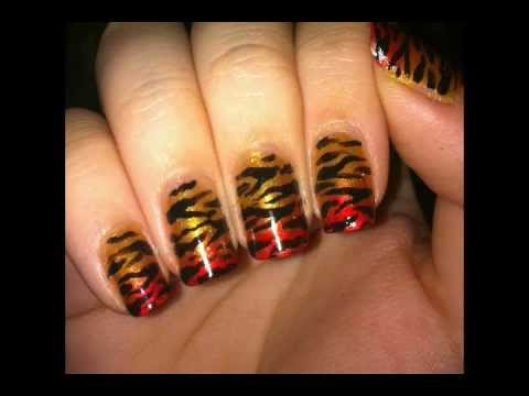 Zebra Stripe Animal Print Nail Design For Short Nails Youtube