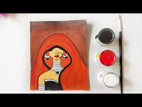 Tribal art painting for Beginners  Ghoongat acrylic Painting  how to paint tribal by Kalakar Supriya