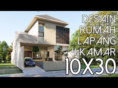 Desain rumah Lapang 4 kamar tidur - lahan 10x30m2 [kode 005A]