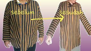 Cara mengecilkan baju adat Jawa Lurik Surjan untuk karnaval.