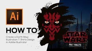 HOW TO - Create a Star Wars Darth Maul Illustration T-Shirts Design in Adobe Illustrator
