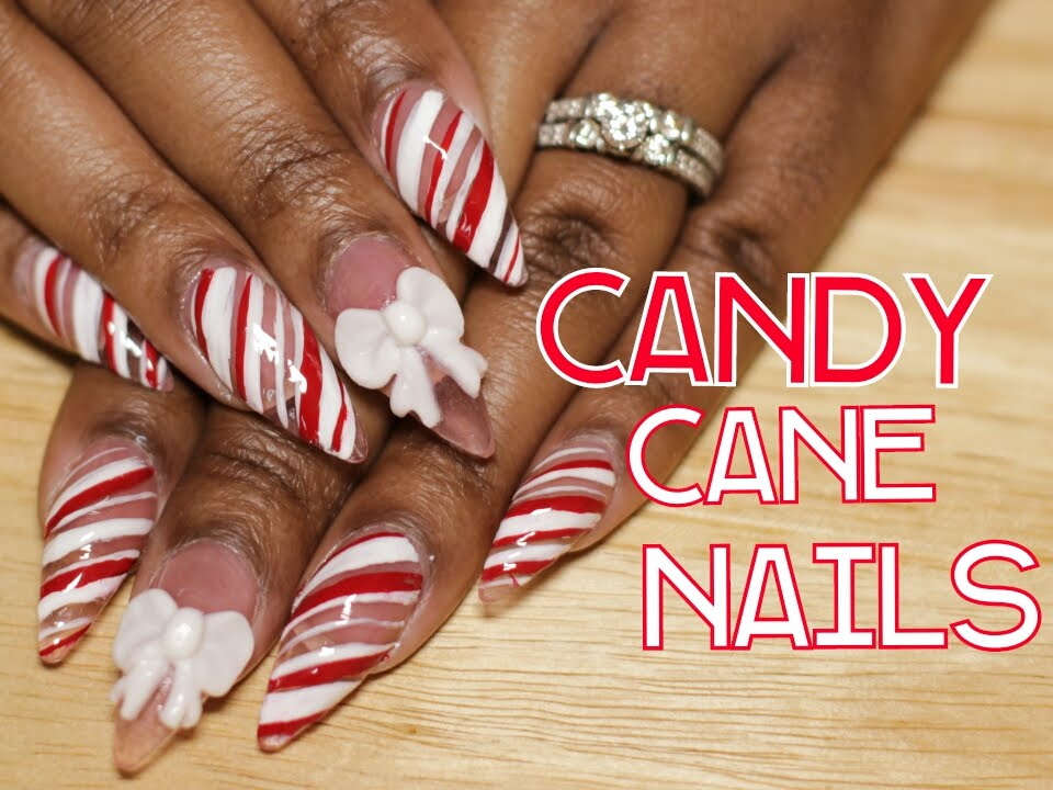 Candy Cane Nails W 3d Acrylic Bow Christmas Nail Design