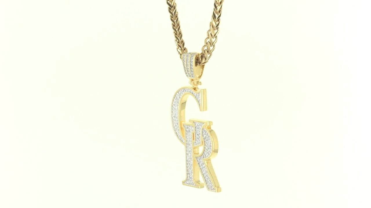 Yellow Gold Finish Iced Out Custom CR Initials Designer Men\