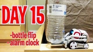 Cozmo - Day 15: BOTTLE FLIP CHALLENGE & ALARM CLOCK FEATURE (Anki's New Robot Review!)