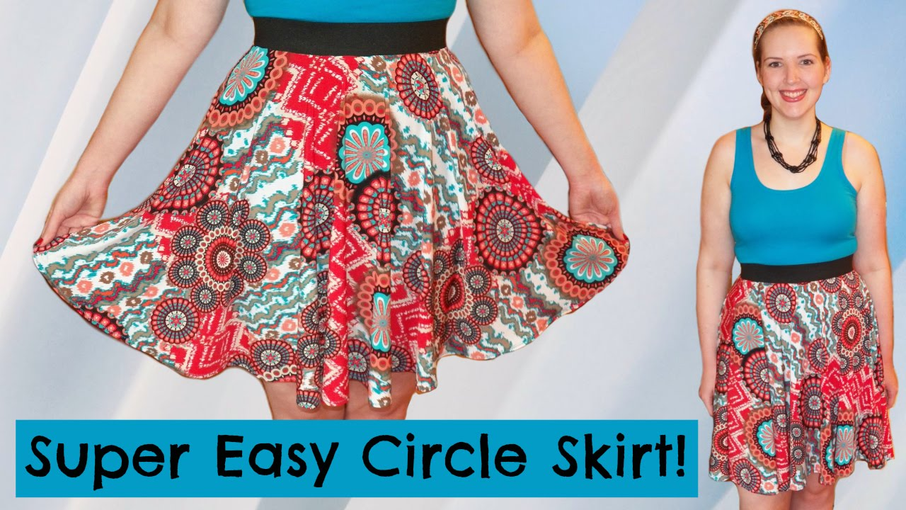 3a8427b16d DIY Easiest Circle Skirt Ever! - Elastic Waistband + Stretch Fabric  No  Zipper  - Sewing - YouTube