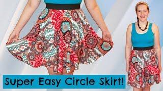 DIY Easiest Circle Skirt Ever! - Elastic Waistband + Stretch Fabric [No Zipper] - Sewing