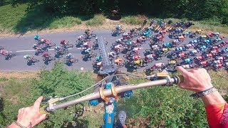 Mountain Biker Jumps Over Tour De France Bikers - VALENTIN ANOUILH