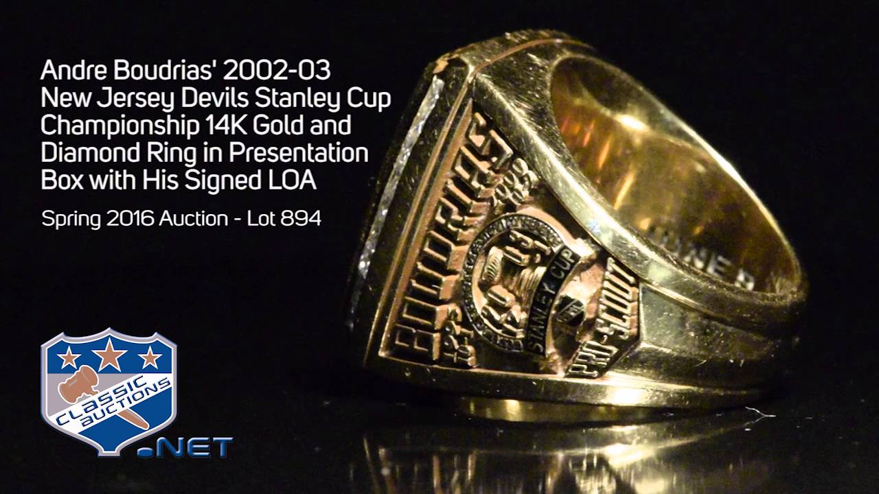 Andre Boudrias  2002-03 New Jersey Devils Stanley Cup Championship 14K Gold  and Diamond Ring 78e615781
