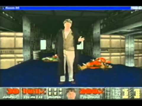 Bill Gates promoting Windows 95 like Doom marine / Bill Gate