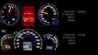 Toyota Camry V50 2.5 vs Audi A4 B8 1.8TFSI  0-100, 0-150 racelogic acceleration, 402m