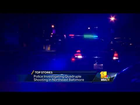 Video: Police investigate quadruple shooting in northeast Baltimore