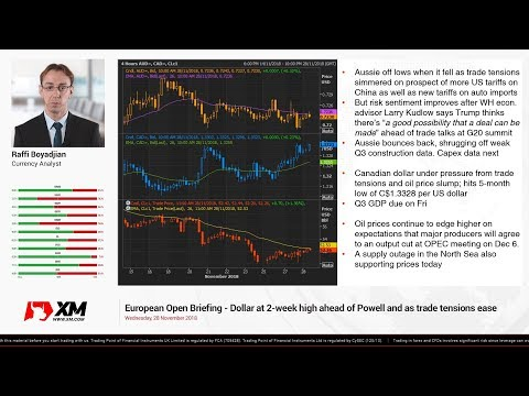 Forex News: 28/11/2018 - Dollar at 2-week high ahead of Powell and as trade tensions ease