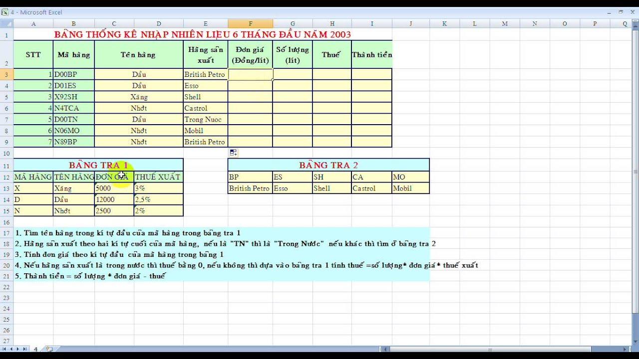 4. Hướng dẫn bài tập excel.  Hàm Vlokup, hàm Hlookup