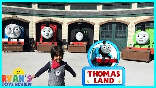 GIANT THOMAS AND FRIENDS kids Train rides Thomas Land Edaville USA amusement park Ryan ToysReview