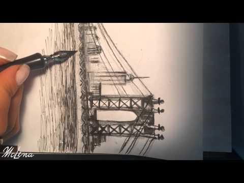 Drawing Brooklyn Bridge New York City - McLena art - speed painting