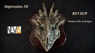 Impression 3D, REVIEW peinture de ma Tête Trophée de DRAGON !!!