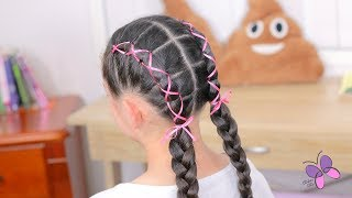 Hairstyle with Crossed Pigtails