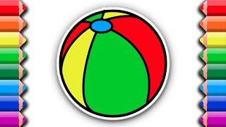 Draw and color a beach ball | Awesome coloring pages for kids