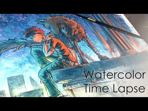 ☆ Night Companion ☆ Time Lapse Watercolor (+Ink) Painting/Coloring Process