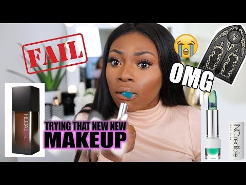 WOW THAT WAS UNEXPECTED! TRYING NEW MAKEUP- HUDA BEAUTY, KATVON D & MORE