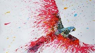 Parrot Splatter art -speed drawing-