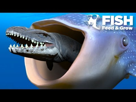 BIGGEST FISH EATS THE MOSASAUR!!! - Fish Feed Grow
