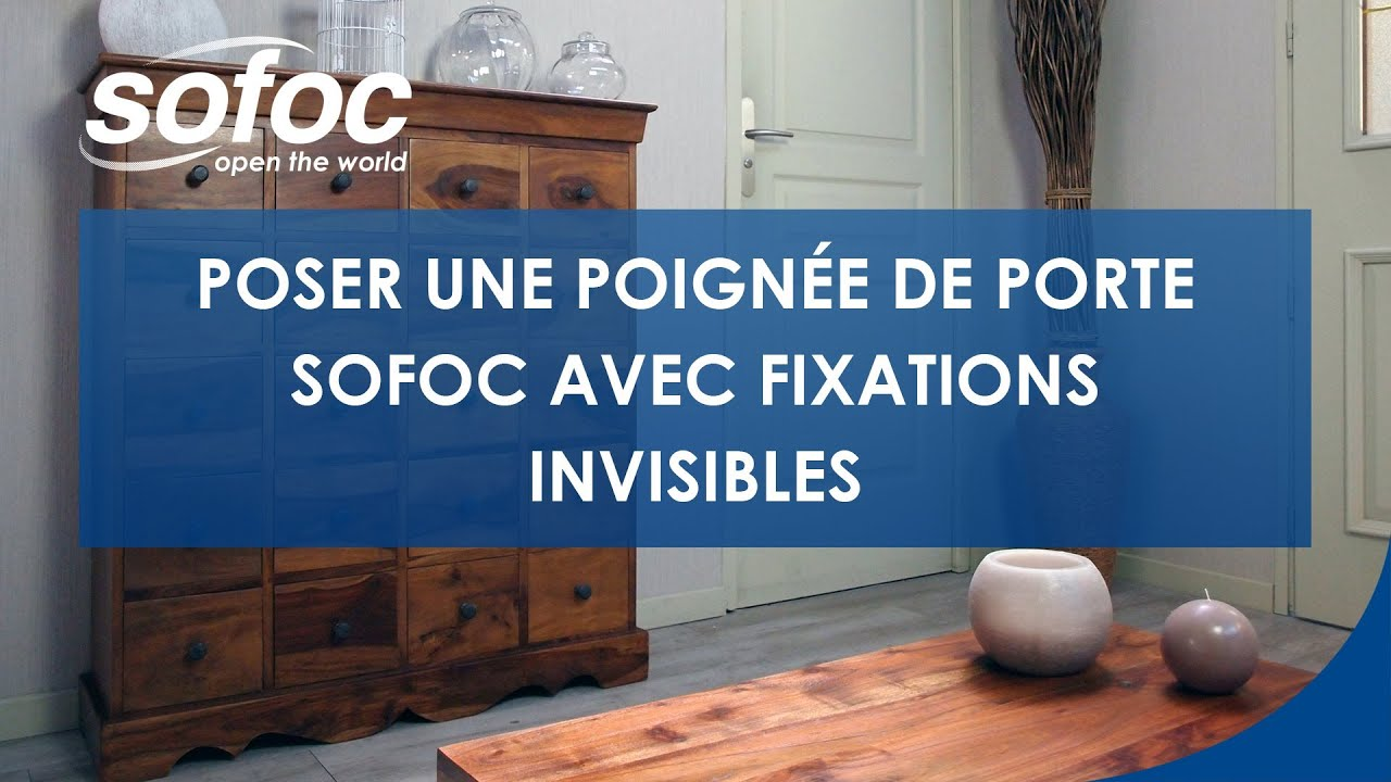poser une poign e de porte sofoc avec fixations invisibles youtube. Black Bedroom Furniture Sets. Home Design Ideas
