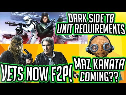 Dark Side TB Unit Requirements, Vet Han + Chewie Farmable, Maz Coming? | Star Wars: Galaxy Of Heroes