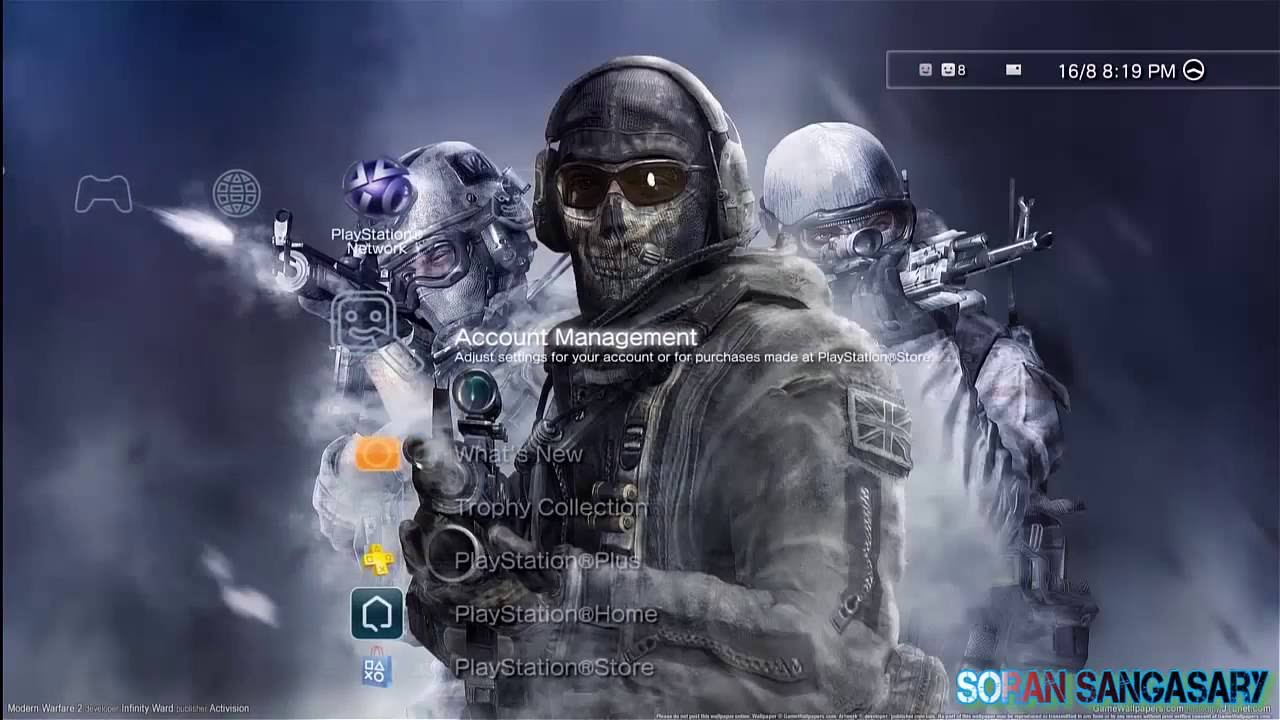 Modern Warfare Wallpaper Hd Call Of Duty Ghost Ps3 Themes Youtube