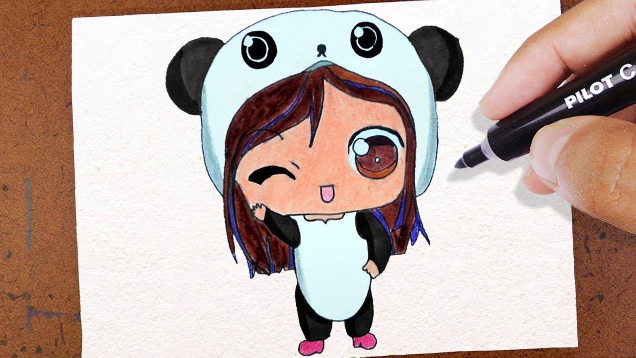 Vamos Desenhar Bonequinha Kawaii Roupa De Panda Desenho Lindo E Fácil