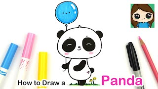 How to Draw a Cute Panda Holding a Balloon Easy