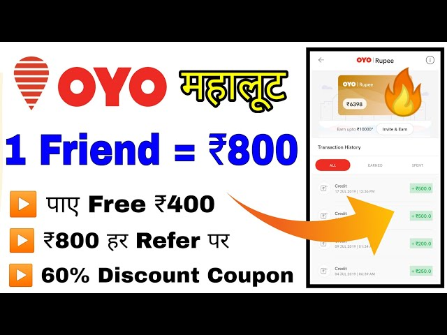OYO Rooms Refer & Earn - ₹400 on Registration + ₹800 Per Refer and Earn & 60% Off On Hotel Booking