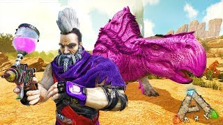 PAINTING MY ENEMIES BASE AND DINOSAURS PINK! Ark Survival Scorched Earth E5