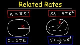 Related Rates - Inflated Balloon & Melting Snowball Problem - Surface Area & Volume