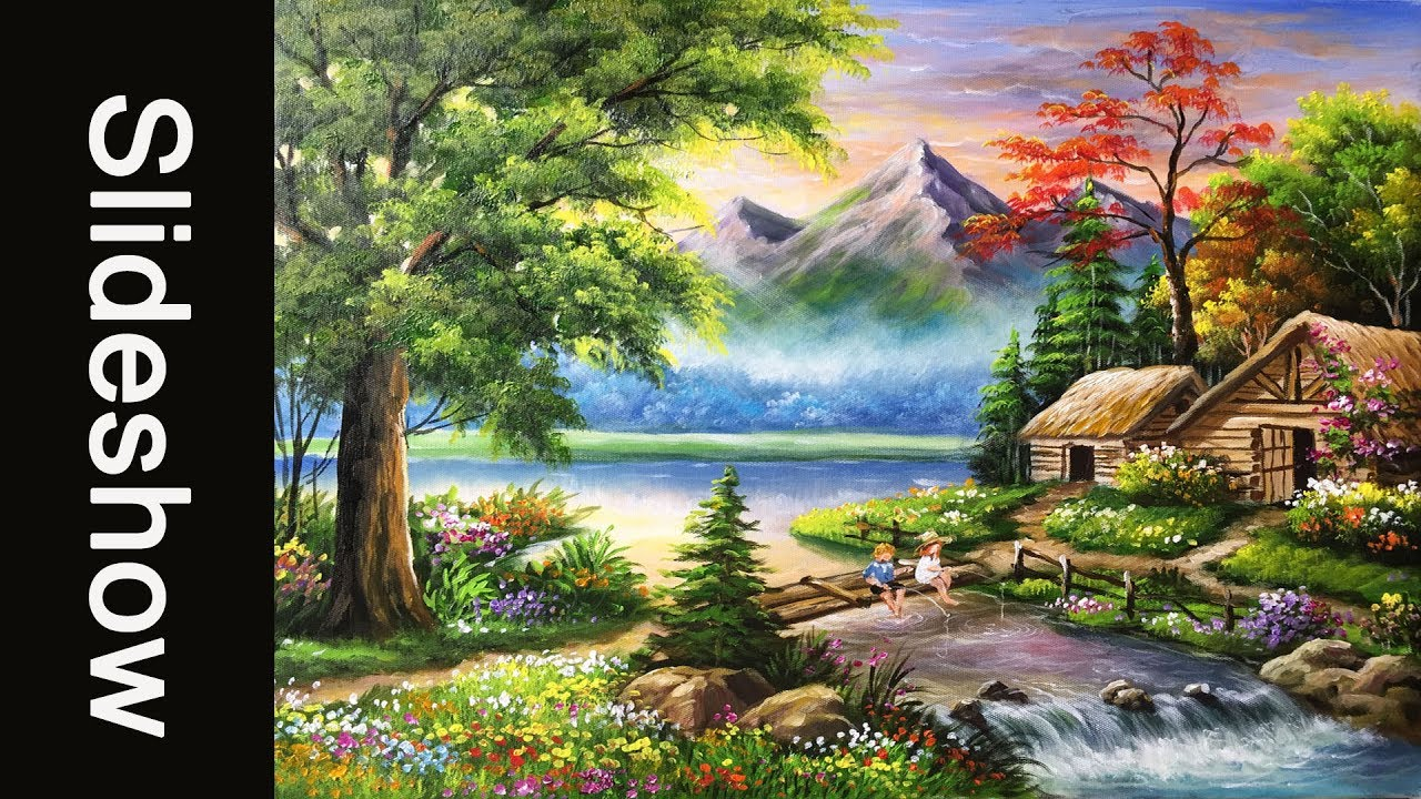 beautiful landscape acrylic painting