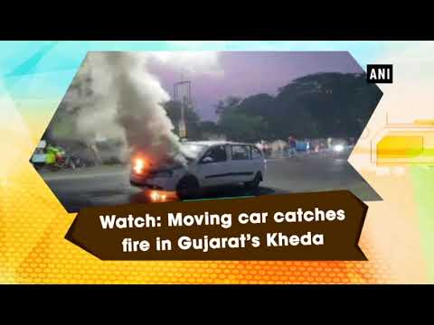 Watch: Moving car catches fire in Gujarat's Kheda